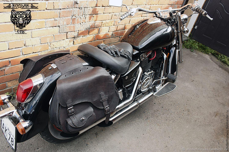 Кожаные кофры для мотоцикла коричневые
