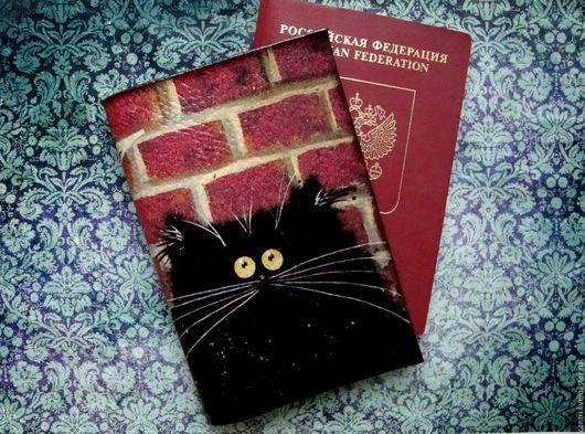 Обложки ручной работы. Ярмарка Мастеров - ручная работа. Купить Обложка на паспорт ЧЁРНЫЙ КОТ.... Handmade. Обложка на паспорт