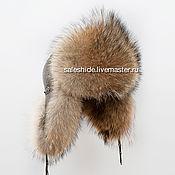 Мужская шапка из меха волка и натуральной кожи