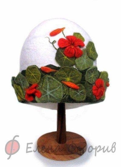"""Банные принадлежности ручной работы. Ярмарка Мастеров - ручная работа. Купить Шапка для бани """"Настурция"""". Handmade. Банная шапка, войлок"""