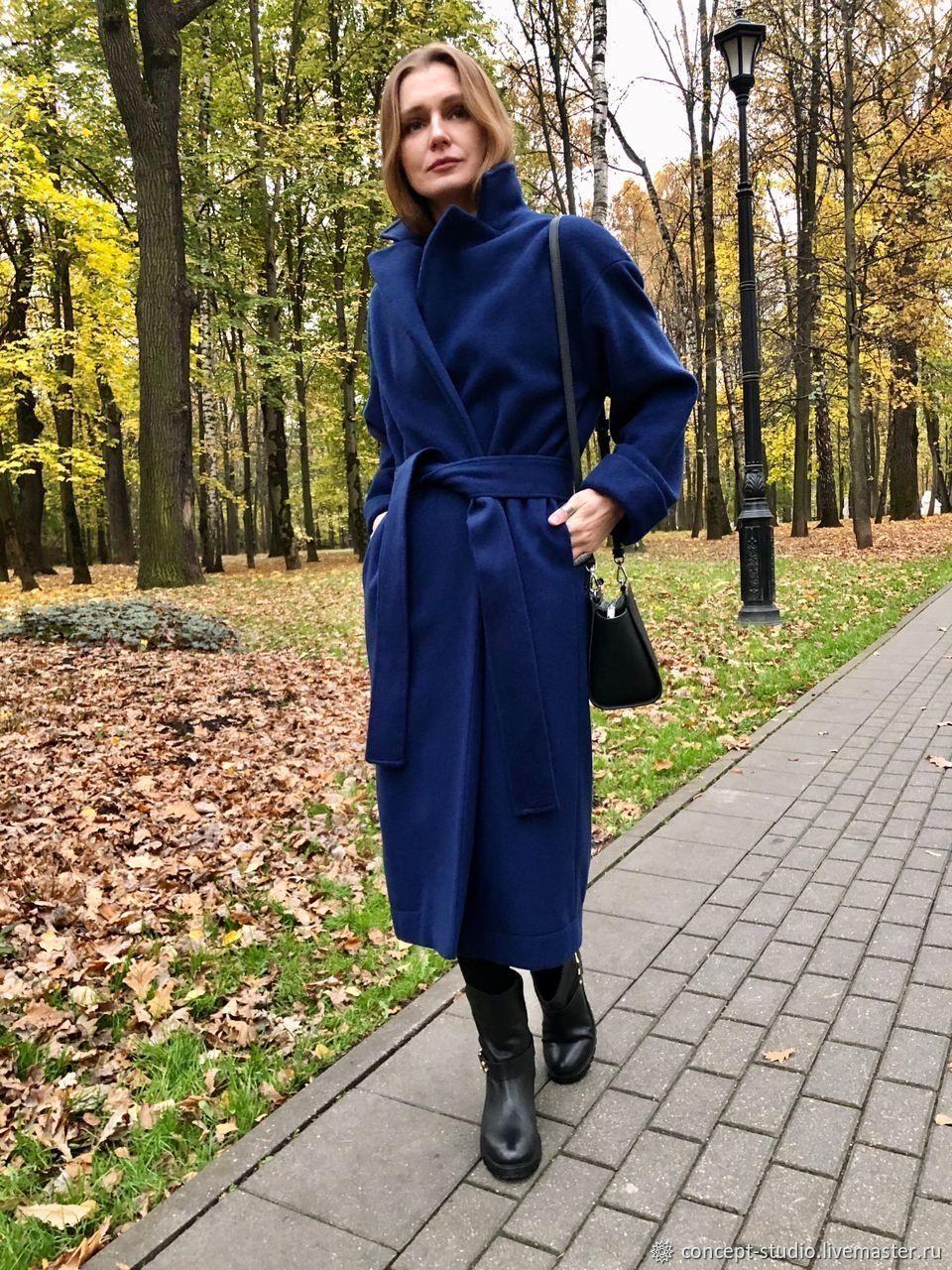 Синее пальто-халат с поясом зимнее тёплое. Пальто тёплое, Пальто, Москва,  Фото №1