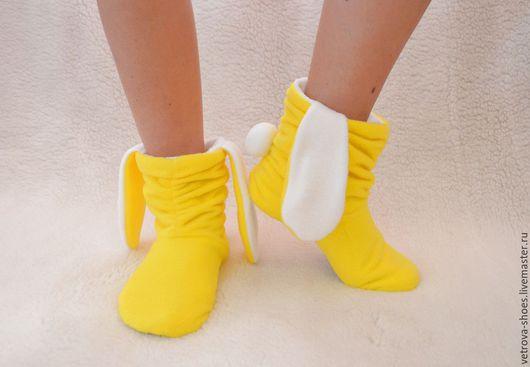 """Обувь ручной работы. Ярмарка Мастеров - ручная работа. Купить Домашние сапожки """"Солнечный зайчик"""". Handmade. Желтый, зайчик, мягкий"""