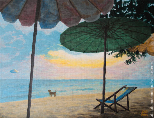 Картина `Пляж`, холст, акрил, 18х24 см