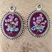 "Украшения handmade. Livemaster - original item Embroidered earings ""Lavender"". Handmade."