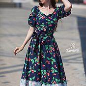 Одежда ручной работы. Ярмарка Мастеров - ручная работа Платье «Вишни» темно-синее. Handmade.