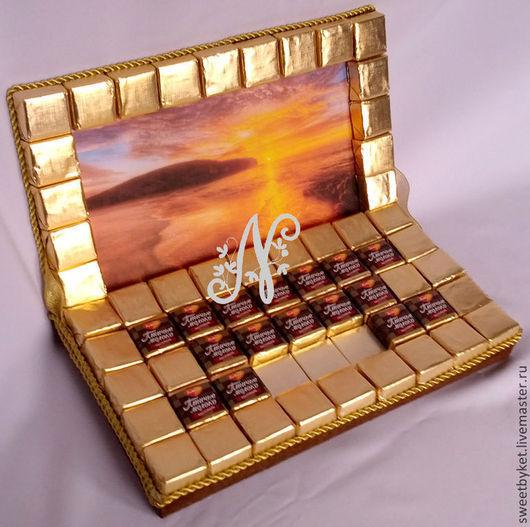 Кулинарные сувениры ручной работы. Ярмарка Мастеров - ручная работа. Купить Ноутбук из конфет, подарок на 23 февраля мужчине, мальчику, ребёнку. Handmade.