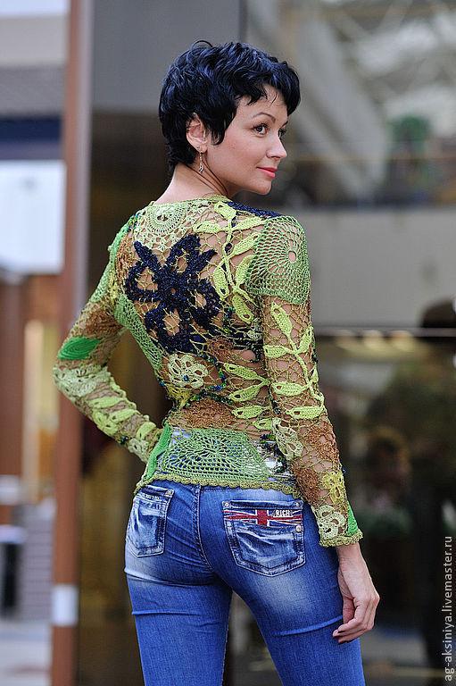 Кофты и свитера ручной работы. Ярмарка Мастеров - ручная работа. Купить Кофта женская вязаная крючком Неординарная зелень. Handmade.