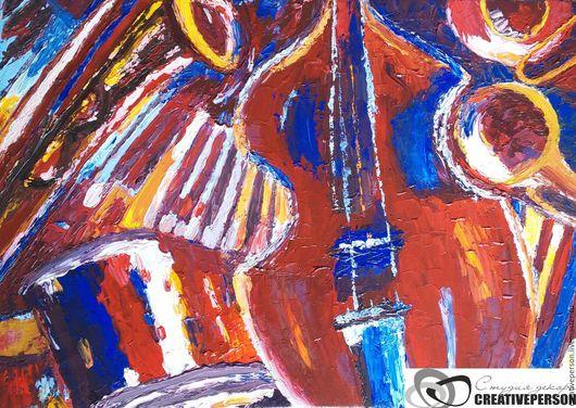 """Натюрморт ручной работы. Ярмарка Мастеров - ручная работа. Купить Картина маслом на холсте """"Джазовый натюрморт"""". Handmade. Картина маслом"""