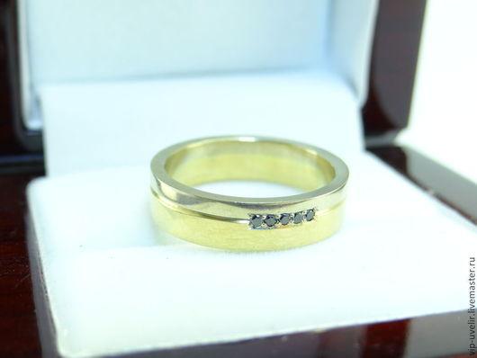 Свадебные украшения ручной работы. Ярмарка Мастеров - ручная работа. Купить Обручальные кольца золото-микс с 5 черными бриллиантами. Handmade.