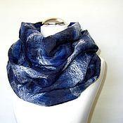 """Аксессуары ручной работы. Ярмарка Мастеров - ручная работа Снуд валяный шарф """"Синий синий иней"""" войлочный снуд шерстяной шарф. Handmade."""