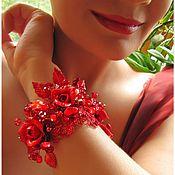 """Украшения ручной работы. Ярмарка Мастеров - ручная работа Браслет """"Красные розы"""". Handmade."""