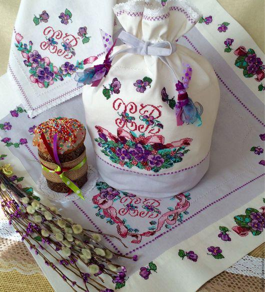 """Текстиль, ковры ручной работы. Ярмарка Мастеров - ручная работа. Купить Пасхальный набор из льна"""" Фиалки"""". Handmade. Эко дом"""