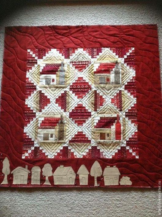 """Символизм ручной работы. Ярмарка Мастеров - ручная работа. Купить """"Уютные домики"""" текстильная картина. Handmade. Уютные, стеганое покрывало"""