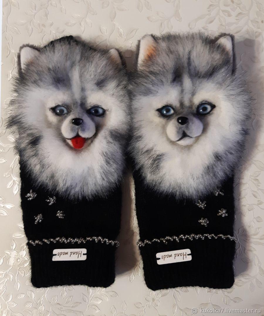 Handmade mittens with Spitz, Mittens, Ramenskoye,  Фото №1