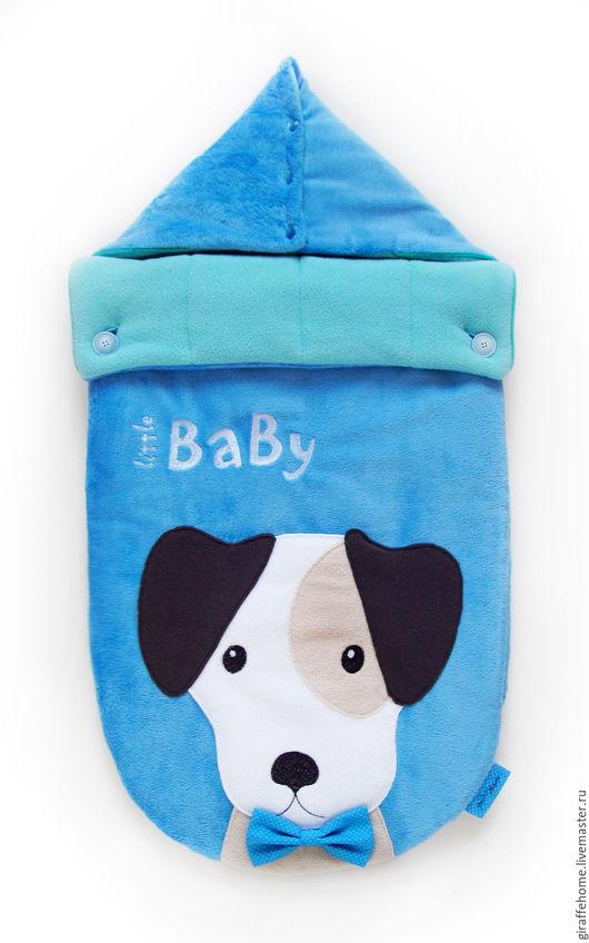 """Для новорожденных, ручной работы. Ярмарка Мастеров - ручная работа. Купить Конверт для новорожденного """"Little baby"""". Handmade. Голубой"""