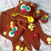 """Работы для детей, handmade. Livemaster - original item Вязаный комплект-шапка,шарф и варежки """"Кошечка""""ручной работы. Handmade."""