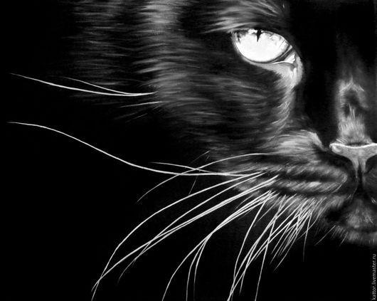Животные ручной работы. Ярмарка Мастеров - ручная работа. Купить Совершенный взгляд (40 х 50 см). Handmade. Кот