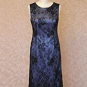 Одежда ручной работы. Ярмарка Мастеров - ручная работа Синее платье с покрытием из кружева. Handmade.
