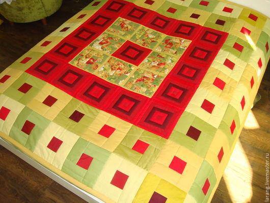 """Текстиль, ковры ручной работы. Ярмарка Мастеров - ручная работа. Купить Лоскутное покрывало  """" Маки"""". Handmade. Ярко-красный"""