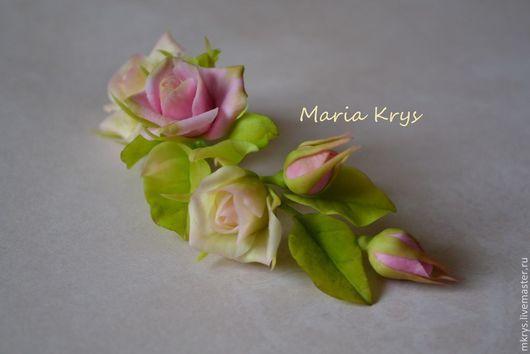 Диадемы, обручи ручной работы. Ярмарка Мастеров - ручная работа. Купить Веточка с розами и бутончиками. Handmade. Розовый, керамическая флористика