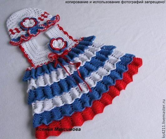 """Одежда для девочек, ручной работы. Ярмарка Мастеров - ручная работа. Купить комплект  для девочки """"Хорошо на море летом"""" сарафан / платье панамка. Handmade."""