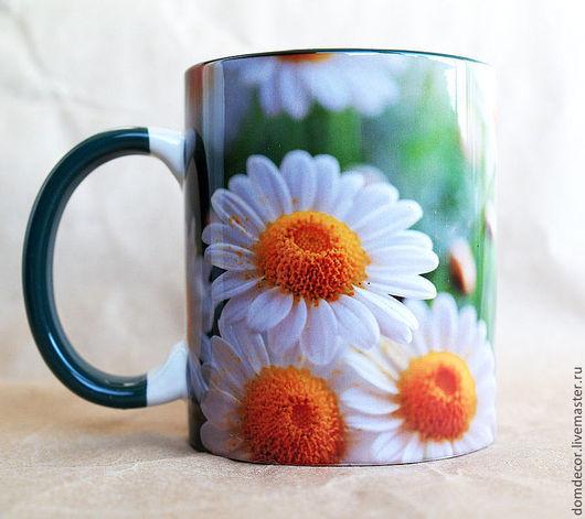 """Кружки и чашки ручной работы. Ярмарка Мастеров - ручная работа. Купить Чашка """"Ромашки крупные"""". Handmade. Зеленый, ромашка, чашка"""