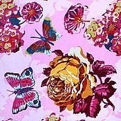 Материалы для творчества ручной работы. Ярмарка Мастеров - ручная работа Американский хлопок- бархат РОЗЫ И БАБОЧКИ на розовом фоне. Handmade.
