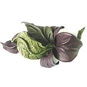 Украшения handmade. Livemaster - original item Brooch flower leather Barcelona green Burgundy Tawny Port. Handmade.
