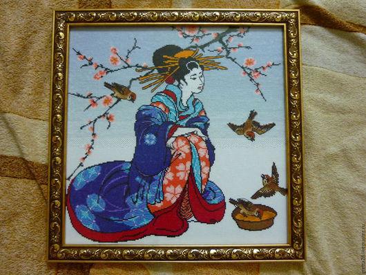 Люди, ручной работы. Ярмарка Мастеров - ручная работа. Купить Японка (гейша). Handmade. Комбинированный, японка, нитки мулине