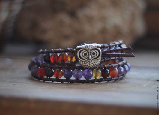 Браслеты ручной работы. Ярмарка Мастеров - ручная работа. Купить Кожаный браслет  с бусинами из натуральных камней.. Handmade. йога