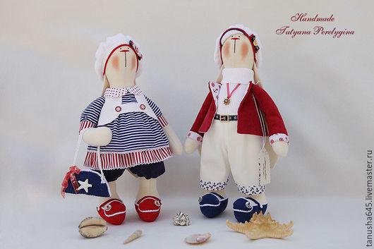 Куклы Тильды ручной работы. Ярмарка Мастеров - ручная работа. Купить Зайки влюбленные в море.... Handmade. Зайчик