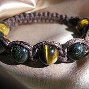 Bead bracelet handmade. Livemaster - original item Shamballa bracelet with tiger`s eye and serpentine