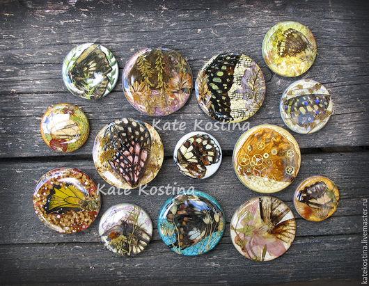 Для украшений ручной работы. Ярмарка Мастеров - ручная работа. Купить Набор авторских кабошонов ручной работы с бабочками. Handmade.