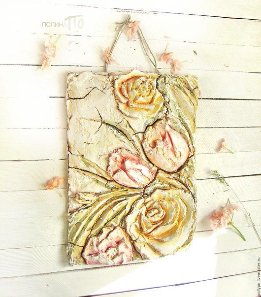 """Картины цветов ручной работы. Ярмарка Мастеров - ручная работа. Купить Рельефное панно из коллекции """"Vintage Garden"""" ( живопись, цветы ). Handmade."""