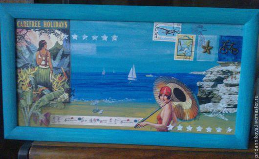 Пейзаж ручной работы. Ярмарка Мастеров - ручная работа. Купить Прогулка у моря. Handmade. Бирюзовый, море, пляж, каникулы, отпуск