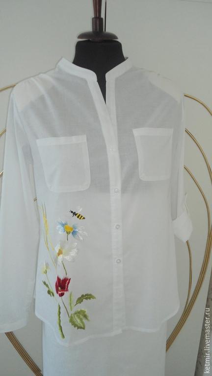 Блузки ручной работы. Ярмарка Мастеров - ручная работа. Купить вышитая шелком блузка (хлопок) батист. Handmade. Белый