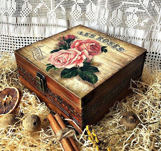 Корзины, коробы ручной работы. Ярмарка Мастеров - ручная работа. Купить Короб шкатулка для чая и трав Розы прованса. Handmade.