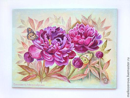 """Картины цветов ручной работы. Ярмарка Мастеров - ручная работа. Купить Картина """"Пурпурные пионы"""". Handmade. Пионы, картина для интерьера"""