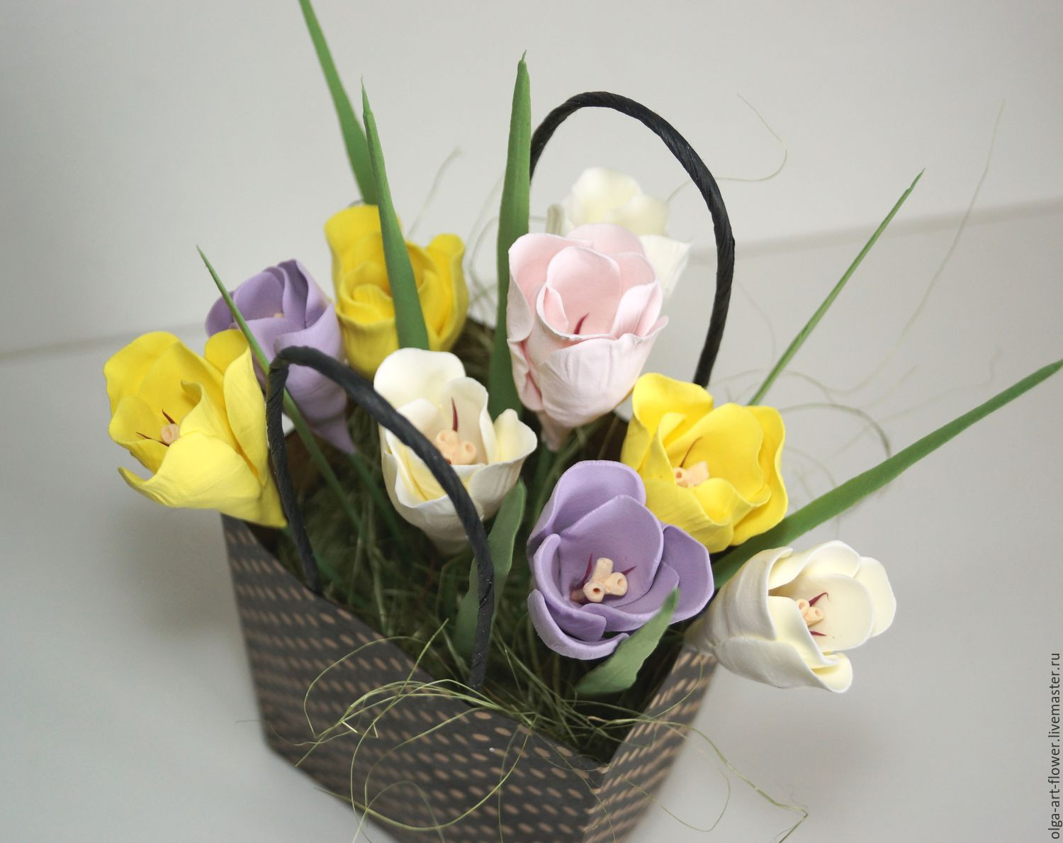 Bouquet of Crocuses in the package. Flowers polymer clay handmade, Composition, Moscow,  Фото №1