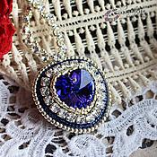 """Украшения ручной работы. Ярмарка Мастеров - ручная работа Колье """"Сердце океана"""" : вышивка бисером, кристаллами. Handmade."""