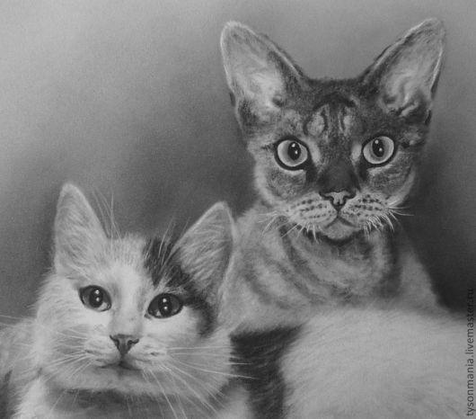 Животные ручной работы. Ярмарка Мастеров - ручная работа. Купить Один серый, другой белый.. Handmade. Чёрно-белый, реализм