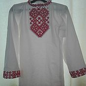Русский стиль handmade. Livemaster - original item blouse for boy. Shirt embroidered with ornament-talisman.(04). Handmade.