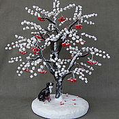 Цветы и флористика handmade. Livemaster - original item The Rowan tree a winter of coral and agate, the year of the dog 2018. Handmade.