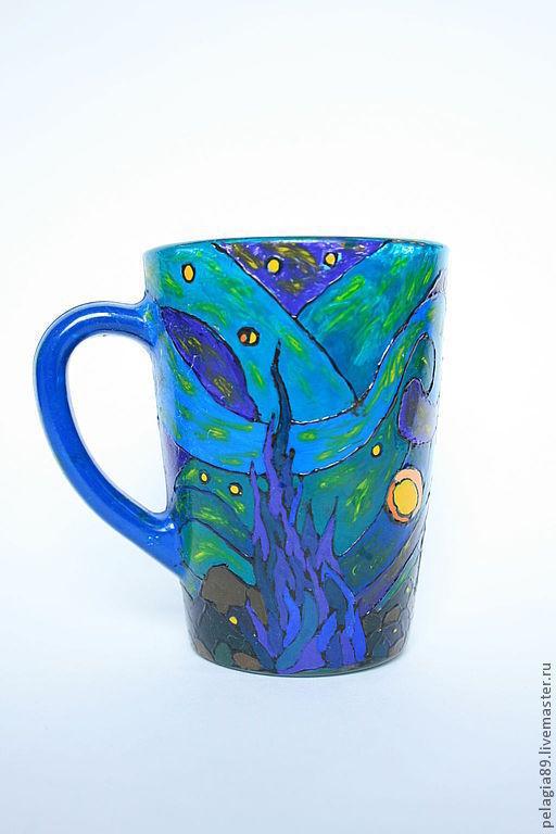 """Кружки и чашки ручной работы. Ярмарка Мастеров - ручная работа. Купить Кружка по мотивам картины Ван Гога """"Звездная ночь"""". Handmade."""