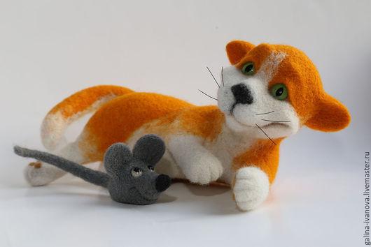 Игрушки животные, ручной работы. Ярмарка Мастеров - ручная работа. Купить Кошки-мышки. Игрушка из шерсти. Фелтинг. Handmade. Разноцветный