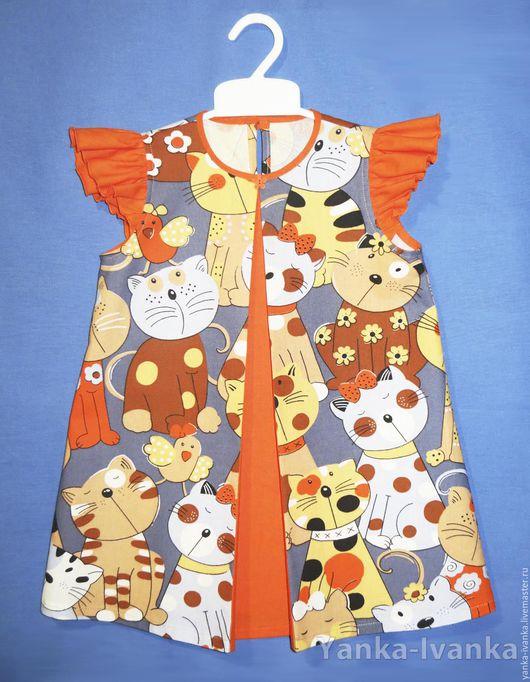 Платье для девочки, платье ручной работы для девочки, платье для девочки летнее, платье для девочки яркое, платье нарядное, платье из хлопка, платье детское, платье для девочки нарядное