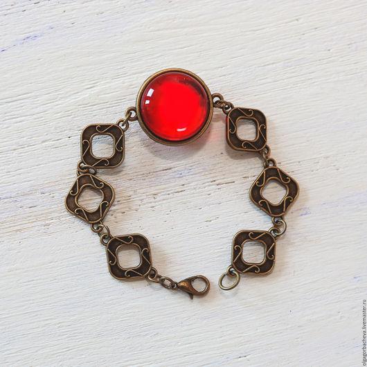 """Браслеты ручной работы. Ярмарка Мастеров - ручная работа. Купить Винтажный браслет """"Тайны Мадрида""""  красный. Handmade. Ярко-красный"""