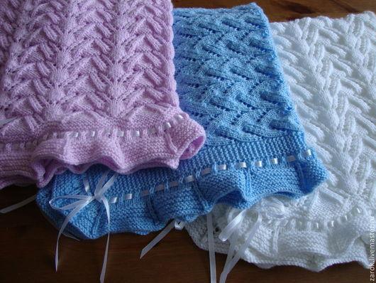 Пледы и одеяла ручной работы. Ярмарка Мастеров - ручная работа. Купить Пледики вязаные для новорожденных на выписку, крещение. Handmade. Белый