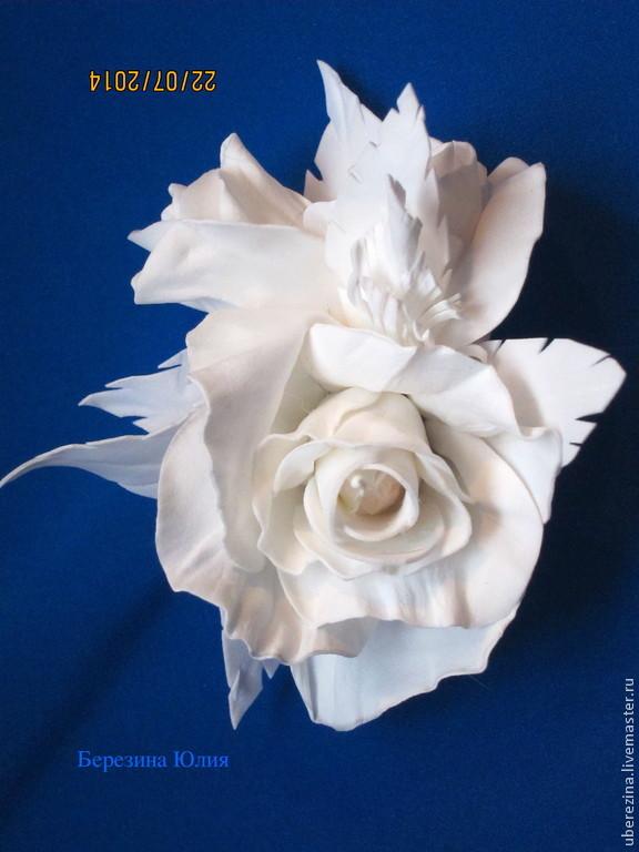 брошь белая роза, Брошь-булавка, Санкт-Петербург,  Фото №1