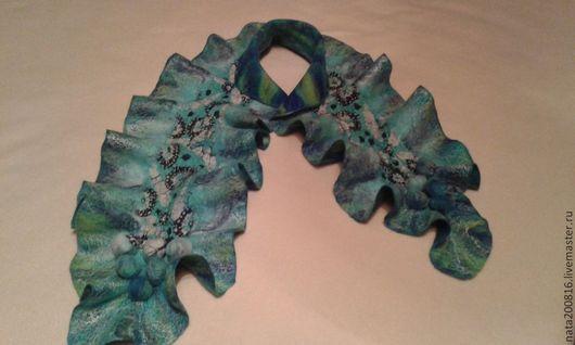 Шарфы и шарфики ручной работы. Ярмарка Мастеров - ручная работа. Купить шарф. Handmade. Тёмно-бирюзовый, стильный аксессуар